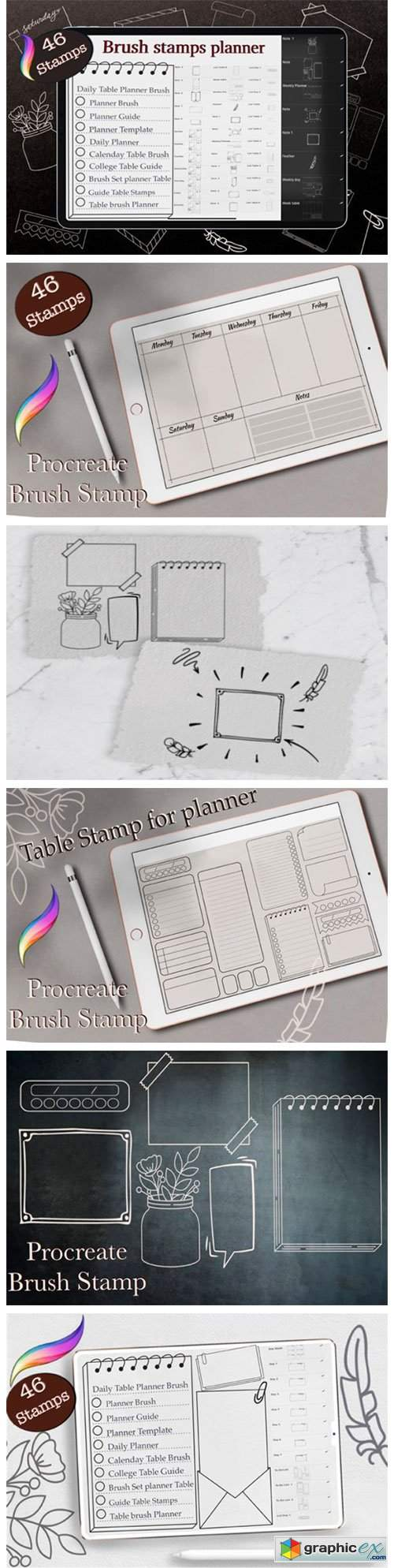 Procreate Planner Stamp Brushes, Template