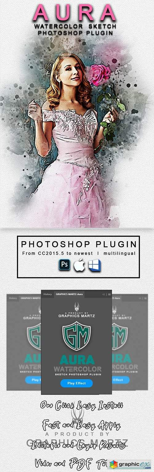 Aura Watercolor Sketch Photoshop Plugin