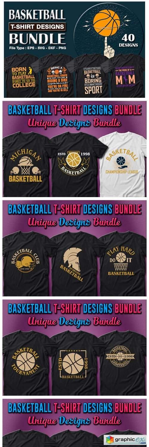 40 Basketball T-shirt Designs Bundle