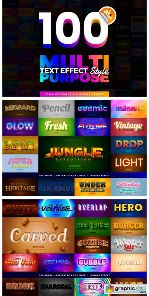 100 in 1 Bundle Multipurpose Text Effect
