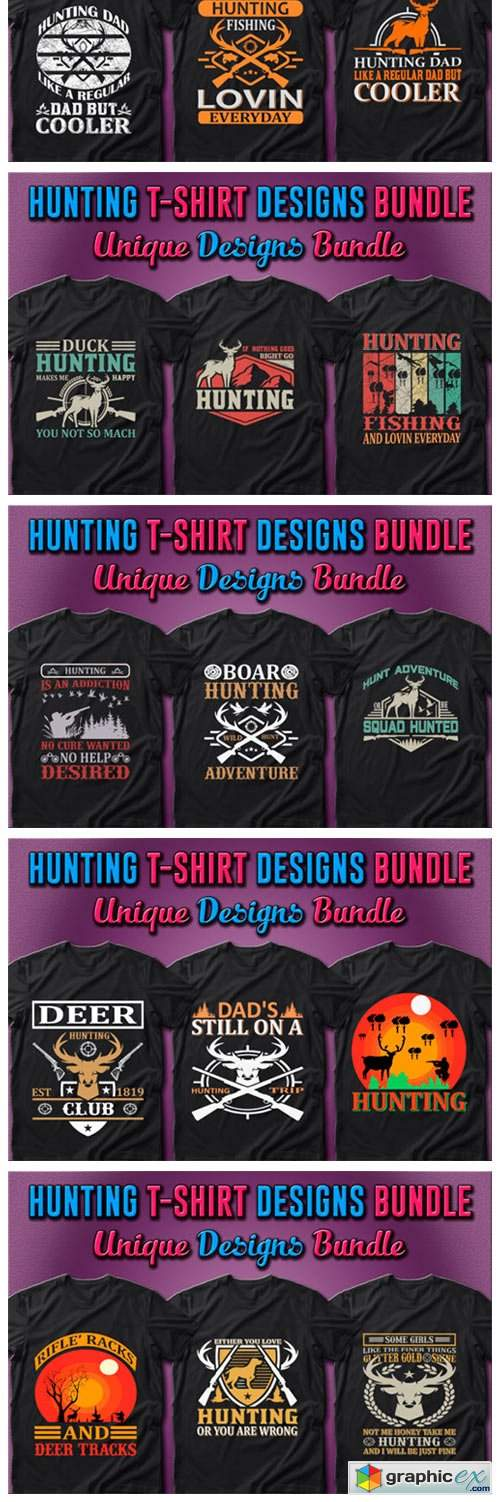 100 Hunting T-shirt Designs Bundle