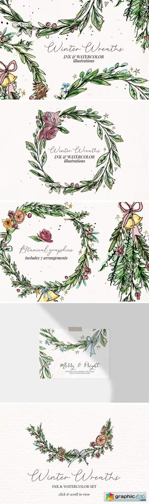 Ink & Watercolor Wreaths