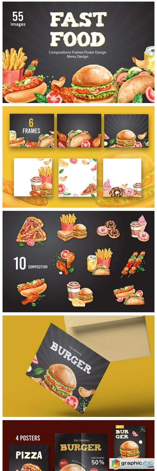 Fastfood Watercolor Illustrarion Set