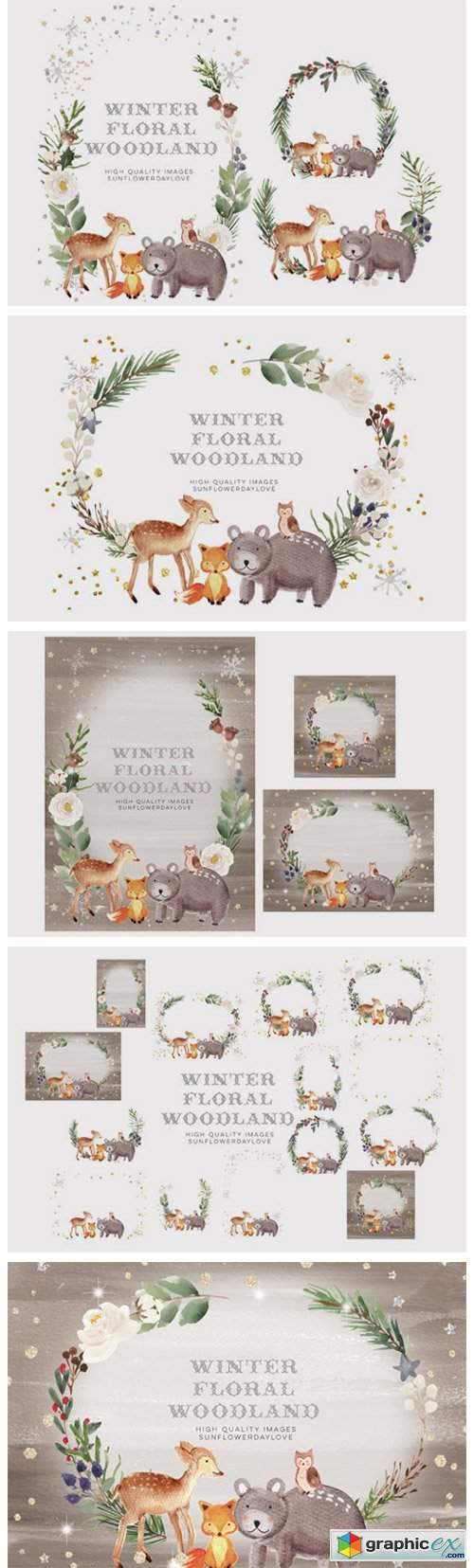 Frame Watercolor Winter Woodland, Animal