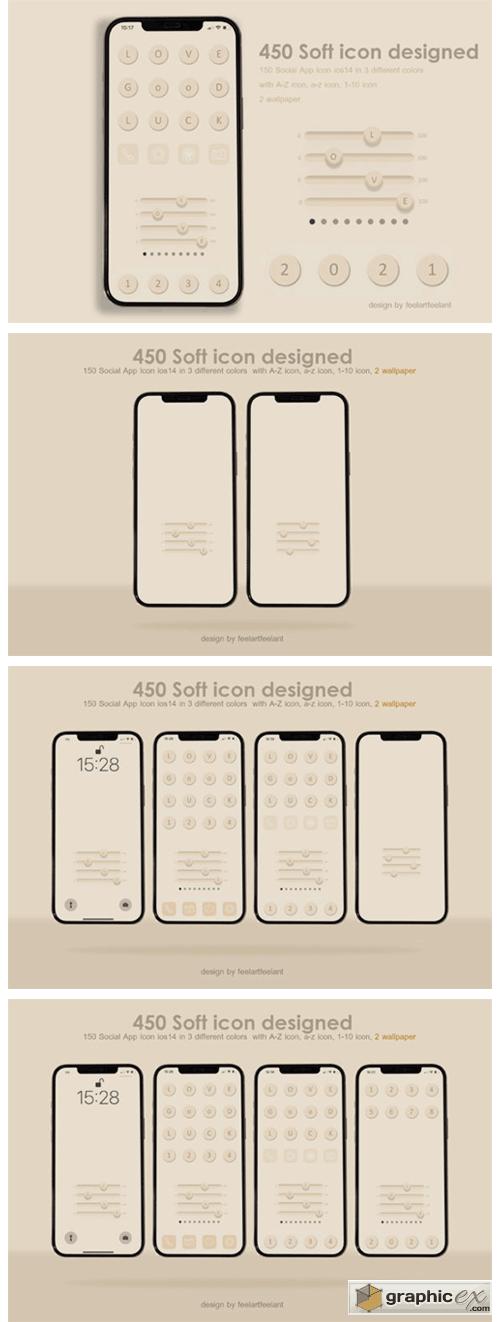 450 Social Icons App Aesthetics