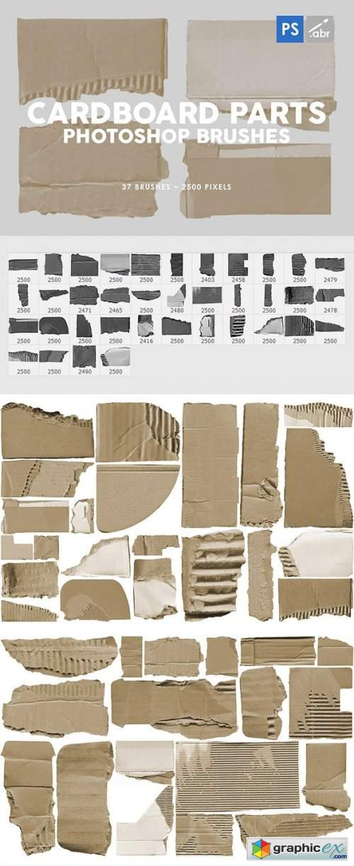37 Damaged Cardboard Parts Photoshop Stamp Brushes