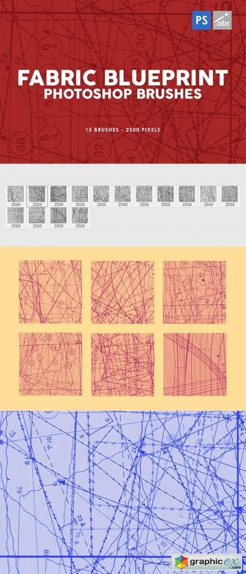 15 Fabric Blueprint Texture Photoshop Stamp Brushes