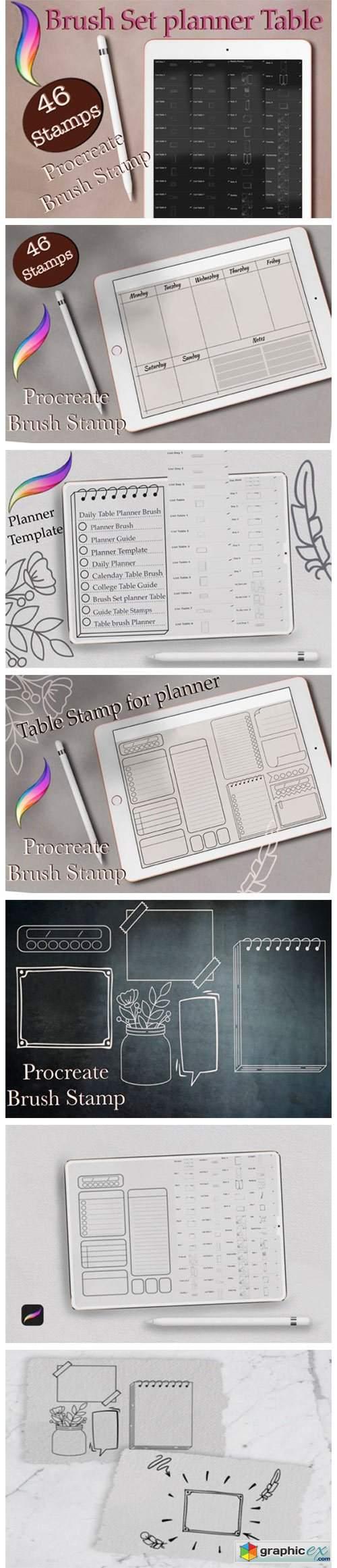 46 Planner Stamps, Brush Stamp Planner