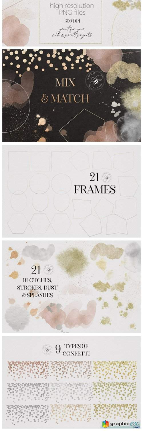 Gold Rose Gold Dust Confetti PNG Frames