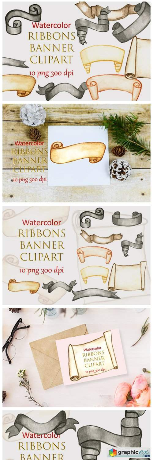 Watercolor Clipart Ribbons Banner Winter