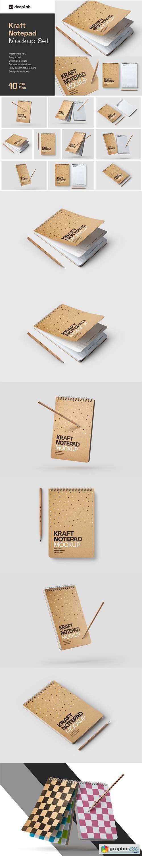 Kraft Notepad Mockup Set, Sketchbook