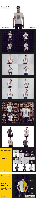 Asian Man T-Shirt Mock-Up Set