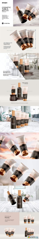 Cosmetic Tube & Bottle - Mockup