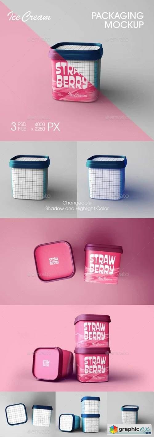 Ice Cream Packaging Cube Mockup