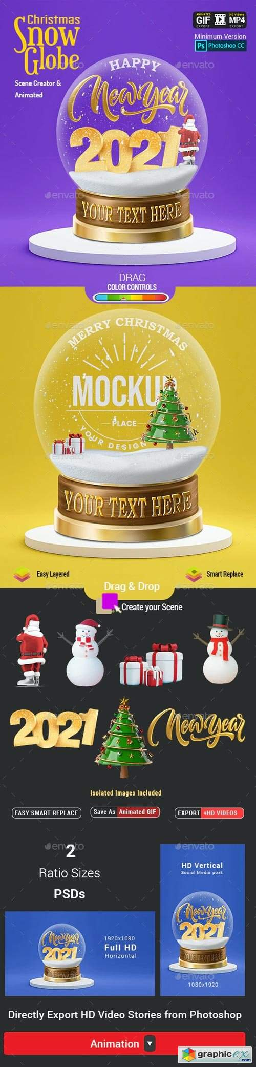 Christmas Snow Globe - Animated Scene Creator Mockup