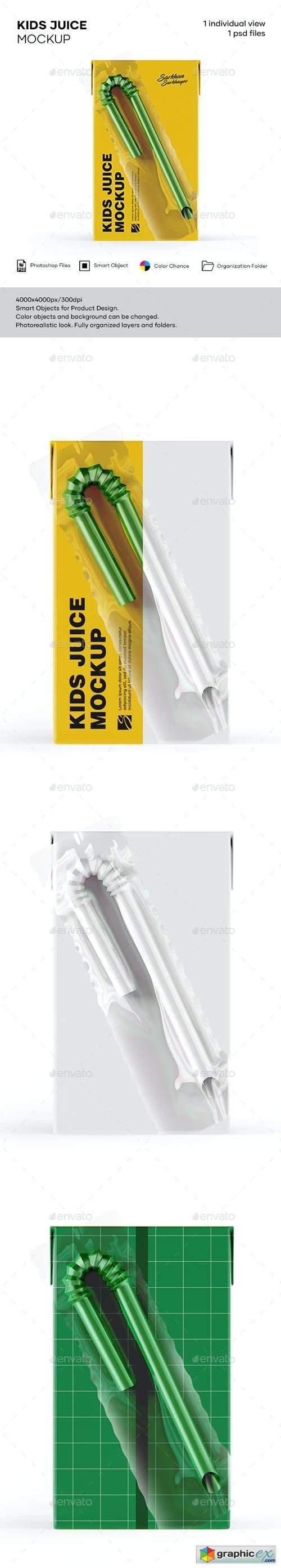 125ml Juice Carton Box with Straw Mockup
