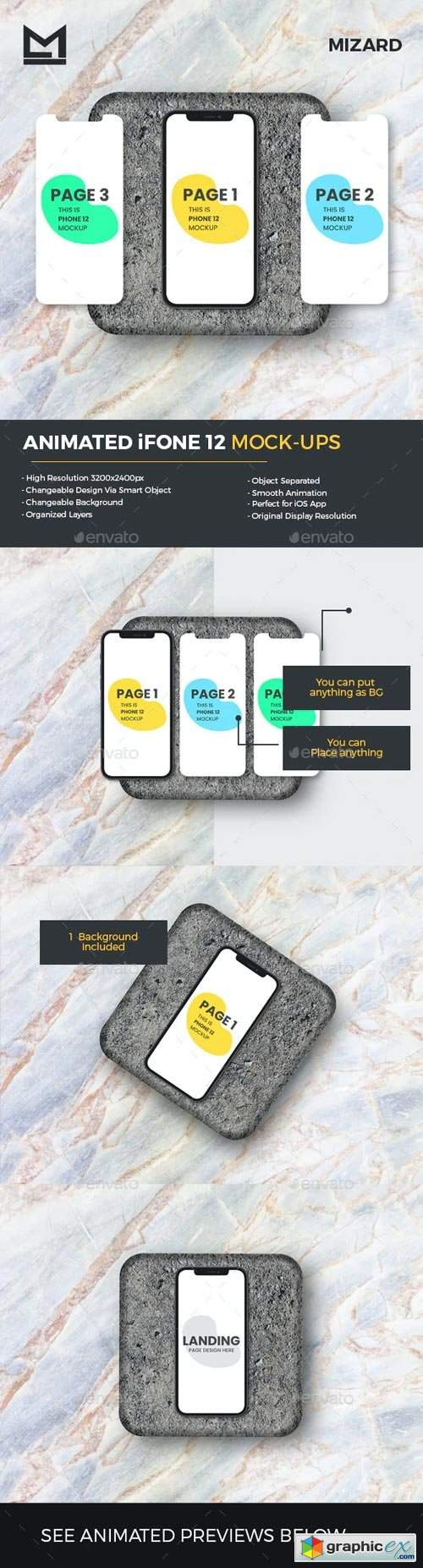 Animated iFone 12 App UI Presentation Mockup