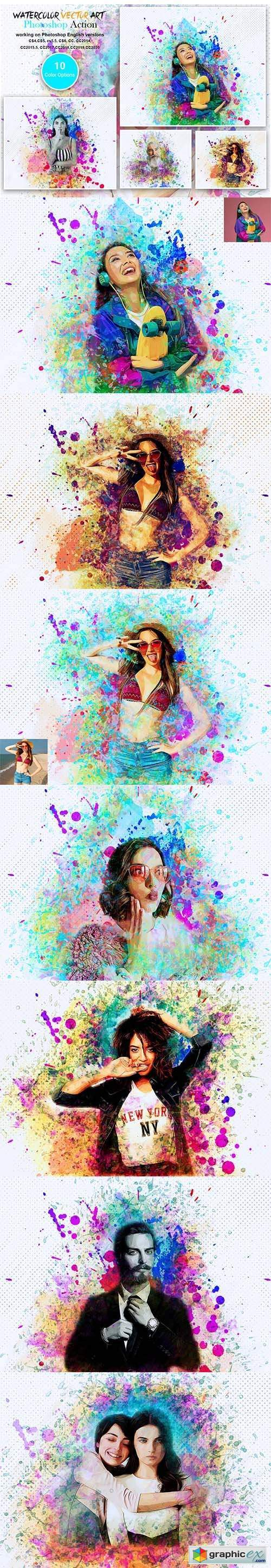 Watercolor Vector Art PS Action