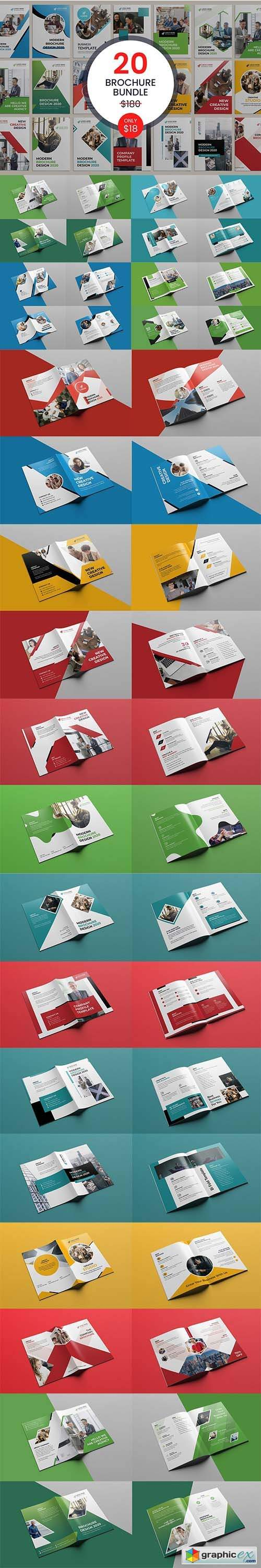 20 Bi-fold Brochure Template Bundle