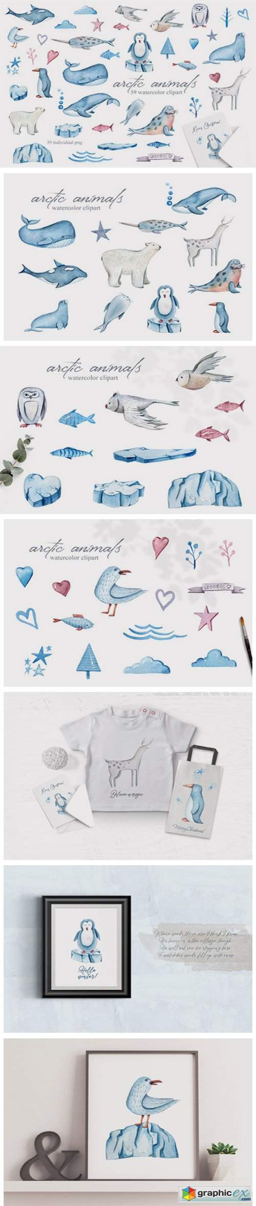 Watercolor Arctic Animals Clipart