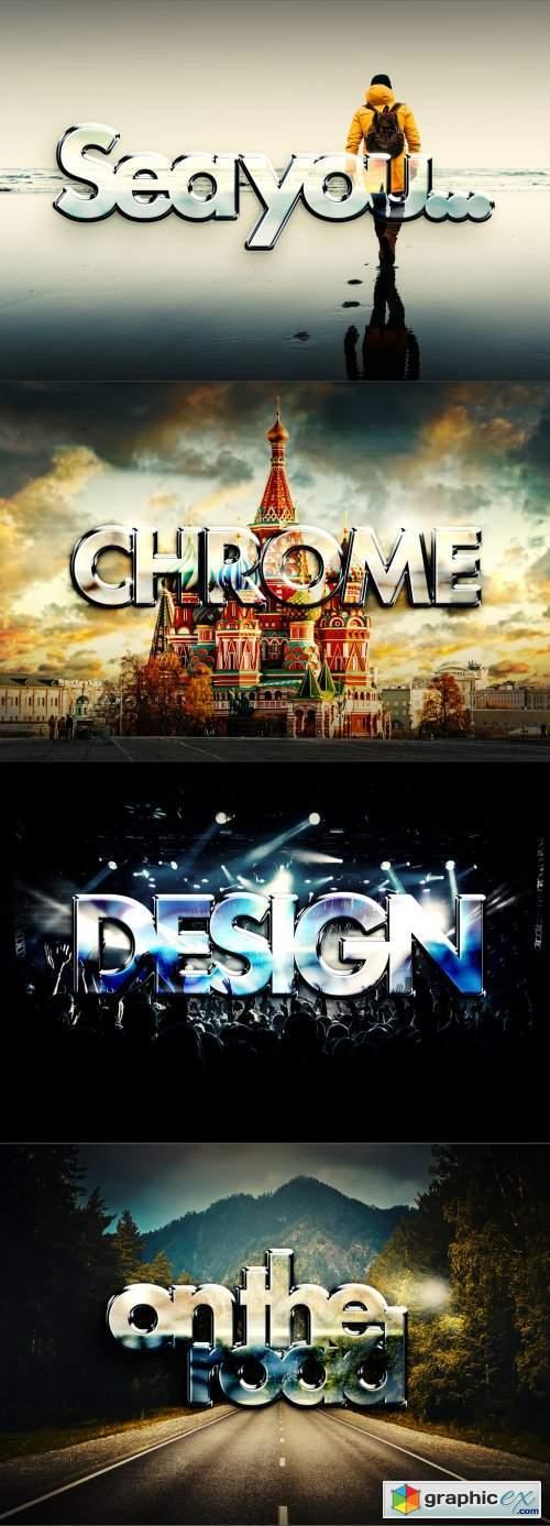 Chrome photo vs text effect mockup