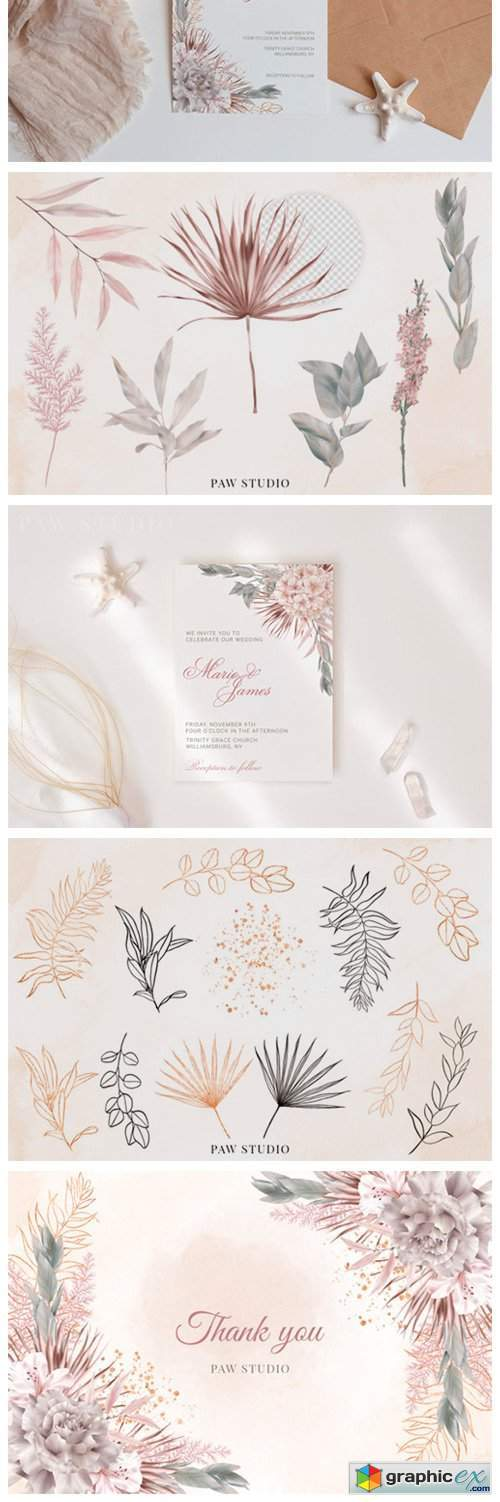 Wedding Flowers Leaves Rose Palm Clipart
