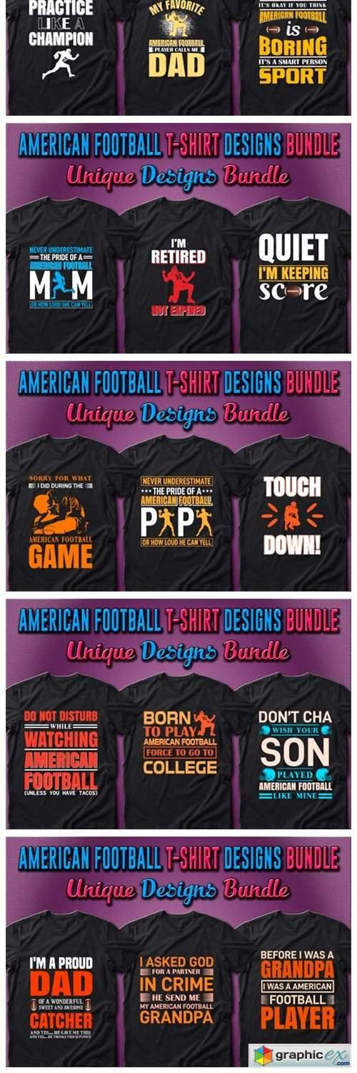 American Football T-shirt Designs Bundle