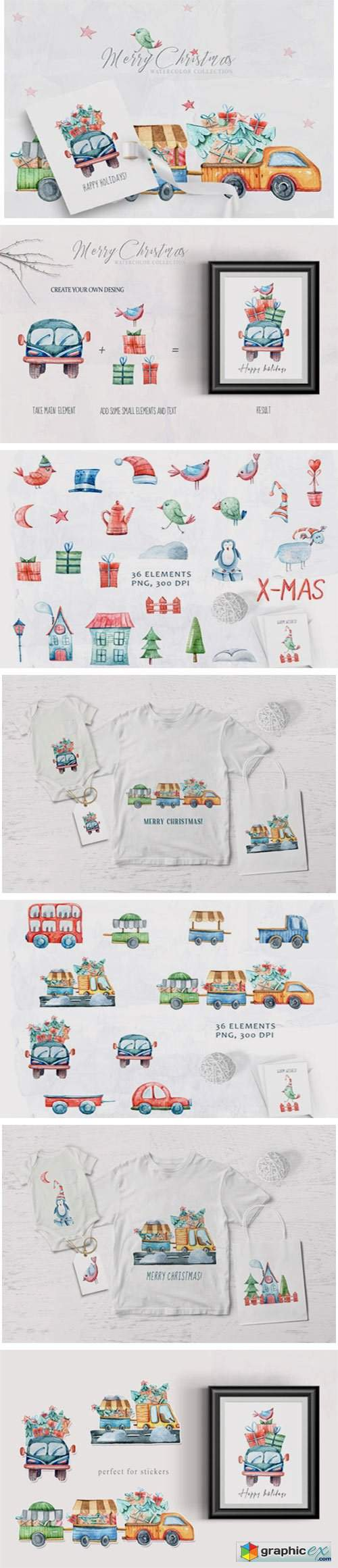 Watercolor Christmas Clipart. Truck Set