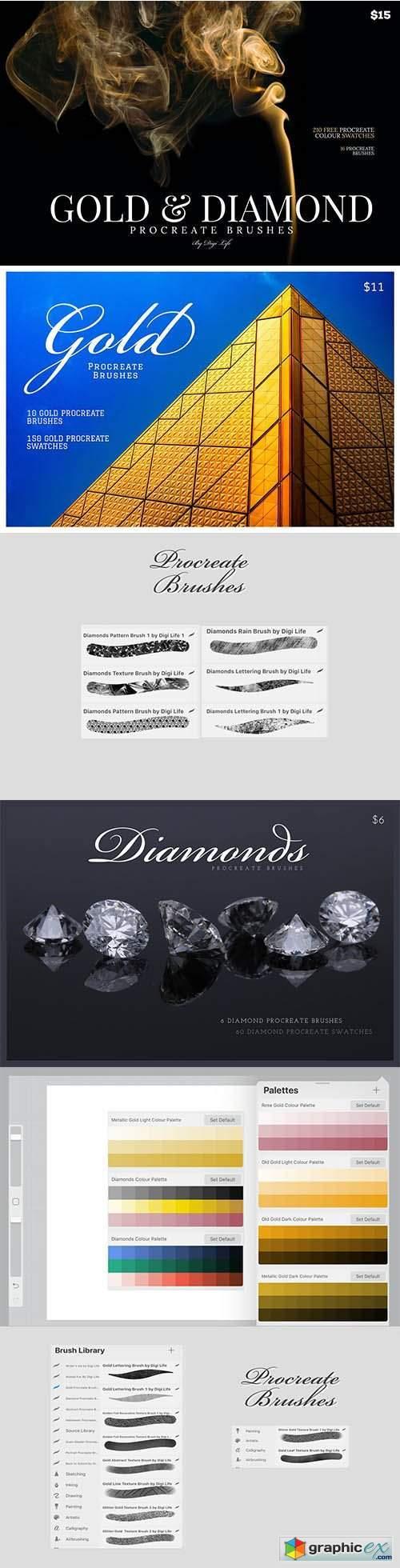 Gold & Diamonds Procreate Brushes