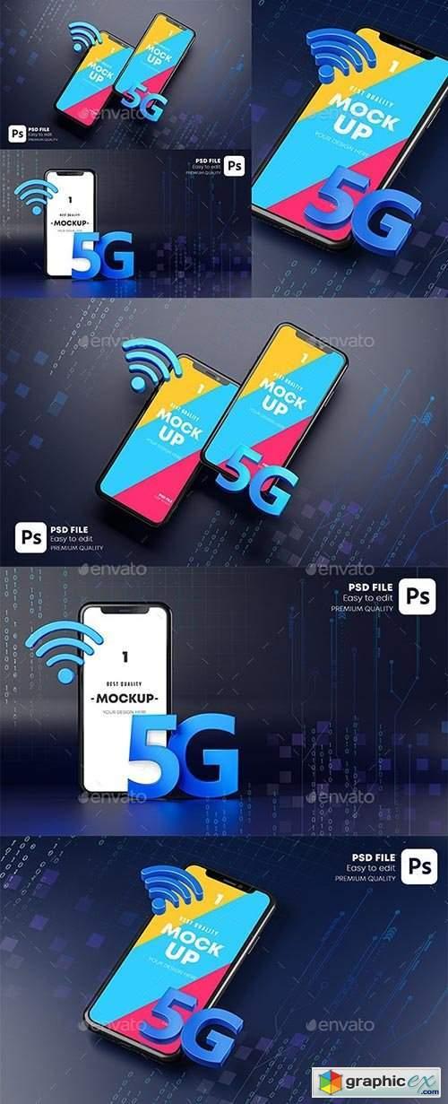 Smartphone Mockup Hologram. Dark Background Technology Concept 3D Rendering 29902887