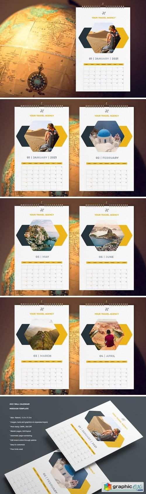 Travel Calendar 2021 Template