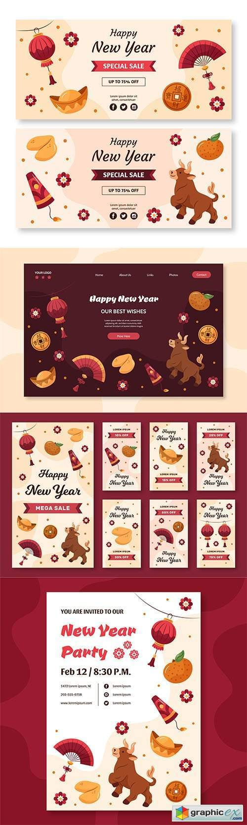 Hand-drawn instagram stories, banner,landing page collection chinese new year ox