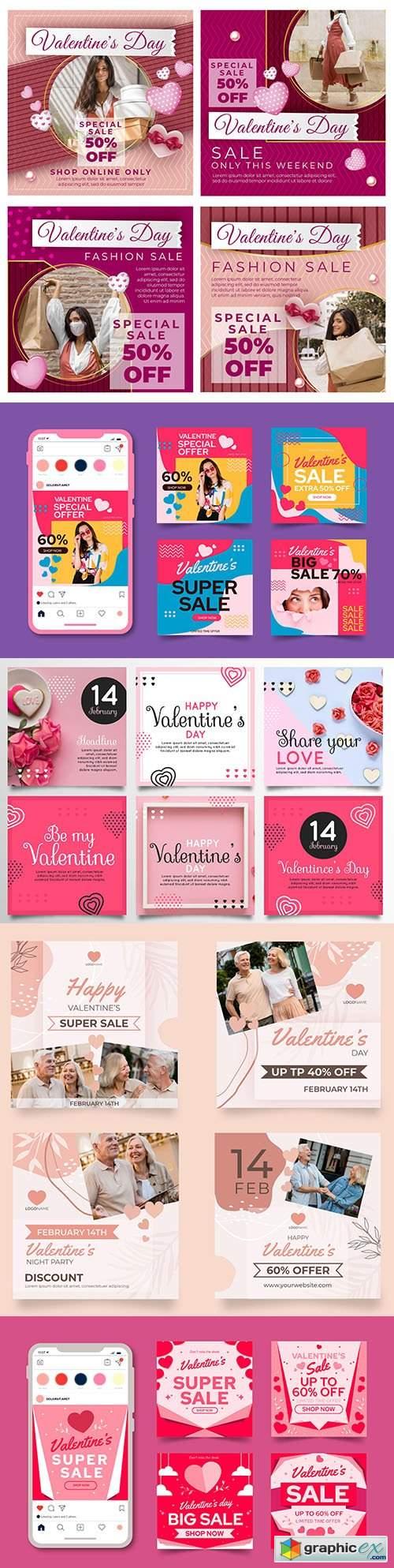 Valentine's Day collection posts on instagram design