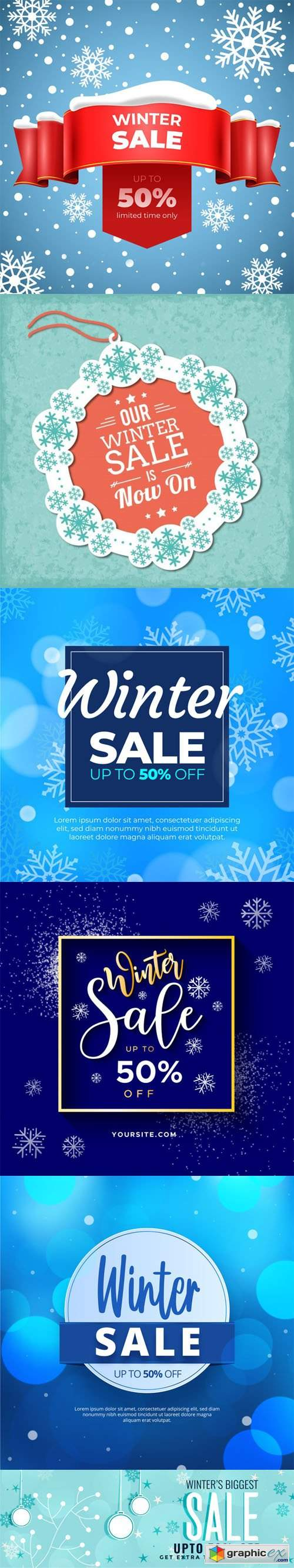 6 Winter Sales Vector Templates Collection