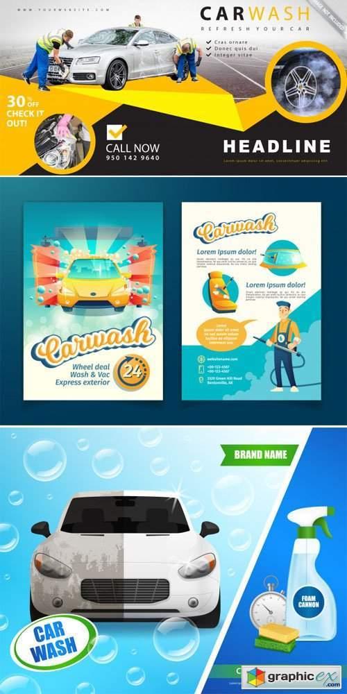 Car Wash Advertising Templates in Vector
