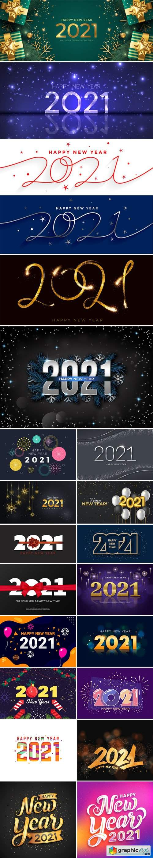 23 Happy New Year 2021 Backgrounds & Lettering Templates in Vector