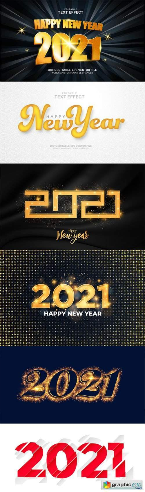 6 New Year 2021 Text Effects Vector Templates