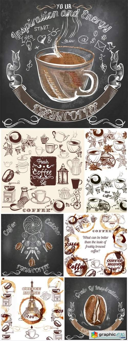 Coffee and various elements in vector