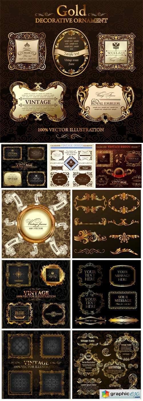 Luxury retro labels with golden design in vector