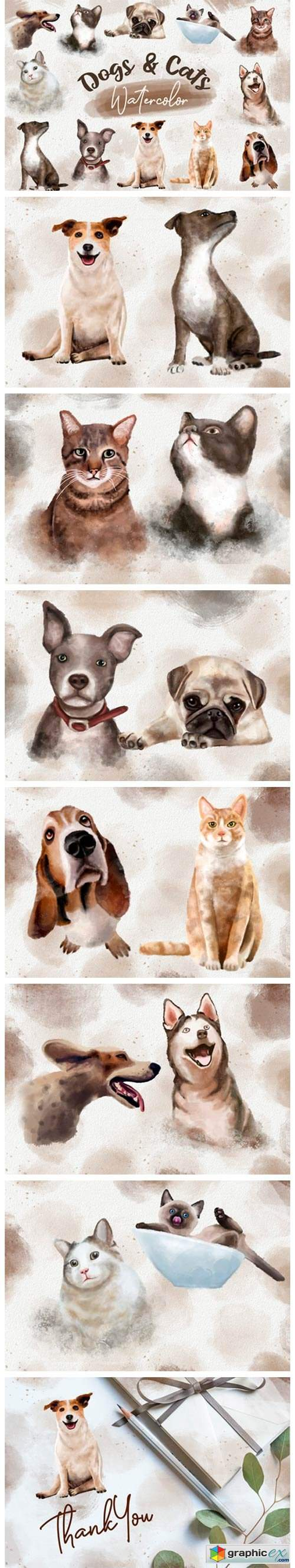 Dogs and Cats Watercolor Collection