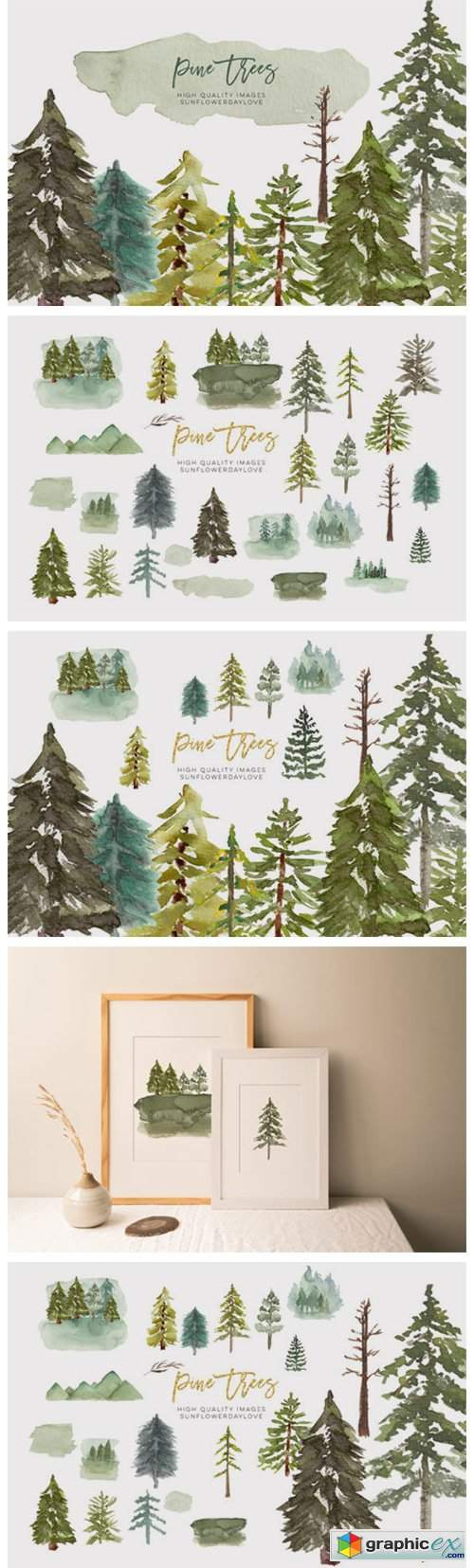 Watercolor Pine Tree Clipart, Evergreen