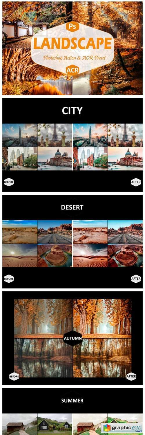 40 Landscape Photoshop Actions and ACR