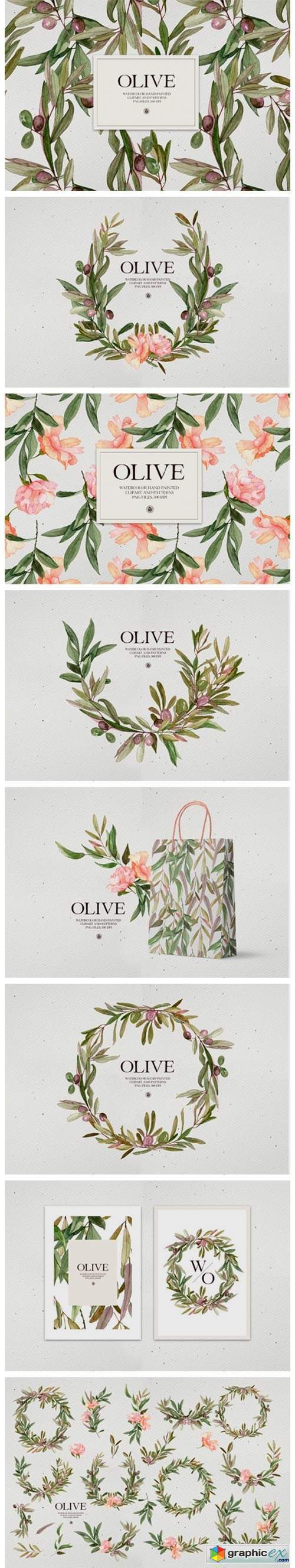 Watercolor Olive - Patterns and Frames