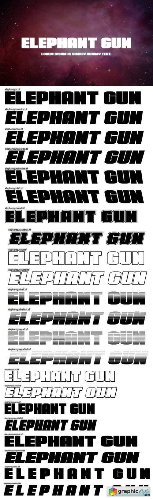 Elephant Gun San Serif Font Family [22-Weights]