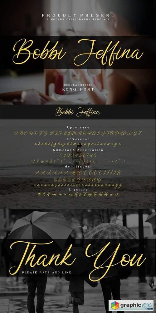 Bobbi Jeffina - Modern Calligraphy Typeface [2-Weights]