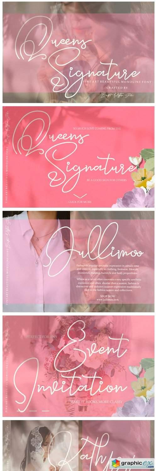 Queens Signature Font