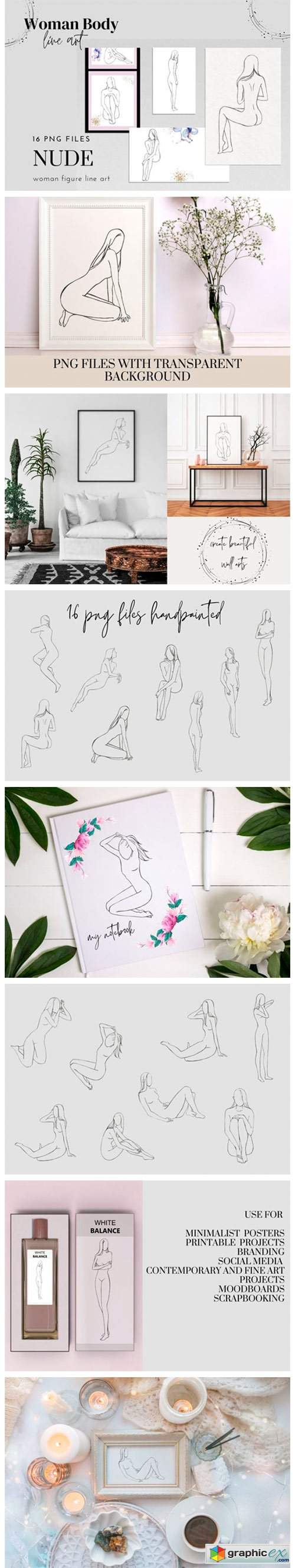 Woman Nude Line Drawing Clipart, Female