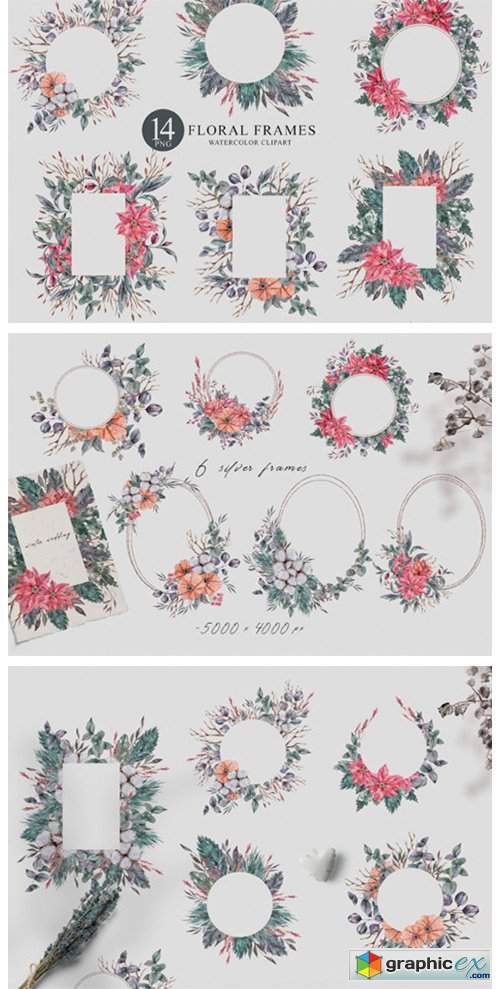 14 Watercolor Christmas Frames Clipart