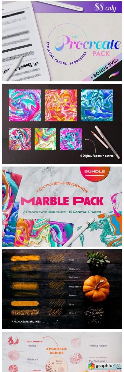 Procreate Bundle Pack Texture Digital