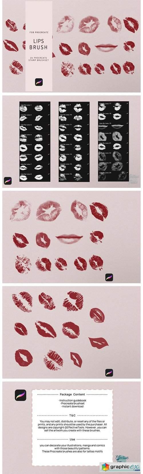 24 Procreate Lips Stamp Brush